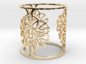 Floral bi-Ring - Size 9 in 14k Gold Plated Brass