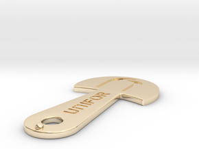 Cart Key - UNIFOR - Recessed Letters in 14k Gold Plated Brass