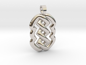 Z knot [pendant] in Rhodium Plated Brass