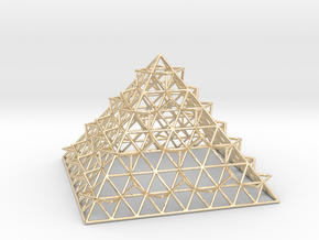 Wire Fractalised Pyramid in 14K Yellow Gold