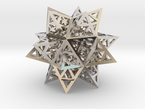 """Stellated Triforce Icosahedron 1.6+"""" in Rhodium Plated Brass"""