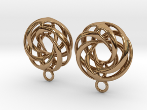 Twisted Torus - Small Earrings in Metal in Polished Brass
