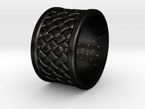 Ring Cross in Matte Black Steel: Medium