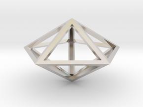 "Pentagonal Bipyramid 1"" in Rhodium Plated Brass"