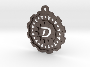Magic Letter D Pendant in Polished Bronzed Silver Steel
