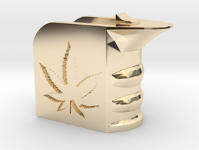Weed/Marijuana Themed Magwell Grip in 14k Gold Plated Brass