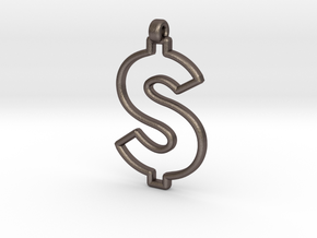 Dollar Symbol Pendant in Polished Bronzed Silver Steel