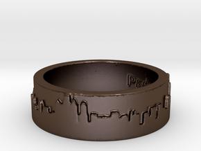 Philadelphia Skyline Ring in Polished Bronze Steel
