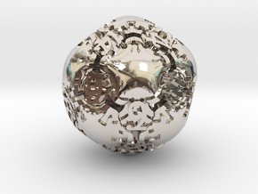 Art Nouveau d20 in Rhodium Plated Brass