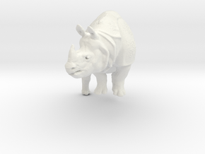 rhino statue 110mm in White Natural Versatile Plastic