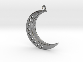 Crescent Moon Pendant with stars in Polished Silver