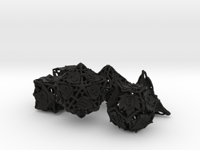 Botanical Dice Ornament Set in Black Premium Versatile Plastic
