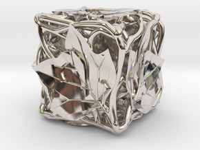 Botanical d6 Ornament in Rhodium Plated Brass