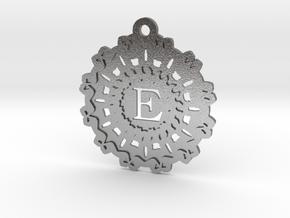 Magic Letter E Pendant in Natural Silver