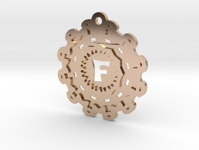 Magic Letter F Pendant in 14k Rose Gold Plated Brass