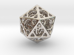 Cage Die20 in Rhodium Plated Brass