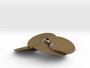 pendant p c trefoil knots 0.6mm interlocked in Natural Bronze (Interlocking Parts)