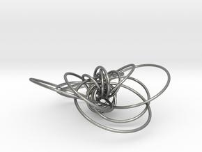 pendant p c geodesics closed + interlocked in Natural Silver (Interlocking Parts)