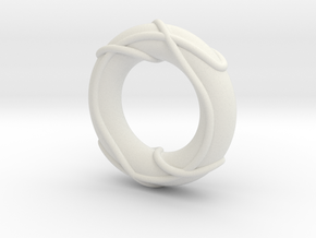 Color Linked Trefoils on Torus in White Natural Versatile Plastic