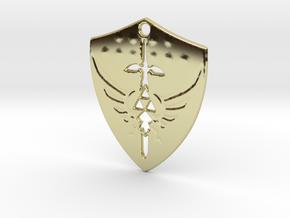 Zelda Triforce Hylian Shield Pendant in 18k Gold Plated Brass