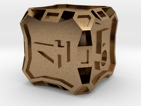 Large d6 - Custom in Natural Brass