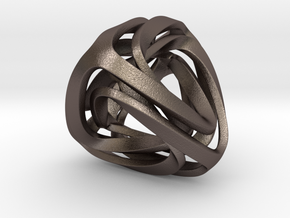 Twisted Tetrahedron in Polished Bronzed Silver Steel: Small