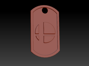 Super Smash Brothers Themed Dog Tag in Polished Bronzed Silver Steel