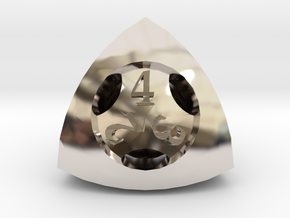 Overstuffed d4 in Rhodium Plated Brass