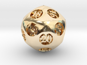 Overstuffed d20 in 14K Yellow Gold