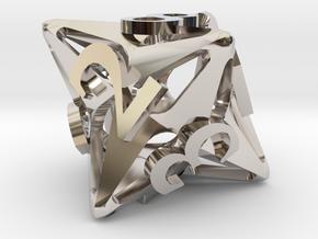 Pinwheel Die8 in Rhodium Plated Brass