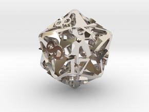 Pinwheel d20 Ornament in Rhodium Plated Brass