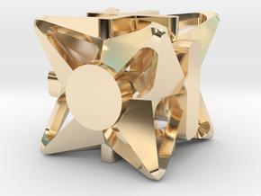 Fudge Pinwheel d6 in 14k Gold Plated Brass