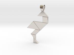 Wading bird tangram [pendant] in Platinum