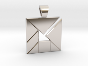 Inner Arrow tangram [pendant] in Rhodium Plated Brass
