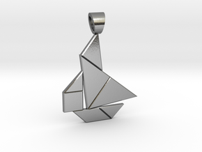 Boat tangram [pendant] in Polished Silver