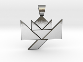 Flower tangram [pendant] in Polished Silver