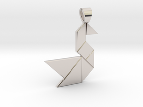 Swan tangram [pendant] in Rhodium Plated Brass