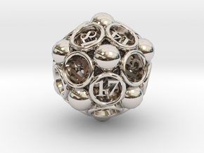 Spore d20 in Rhodium Plated Brass