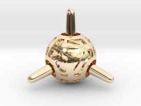 Sputnik Die4 in 14k Gold Plated Brass