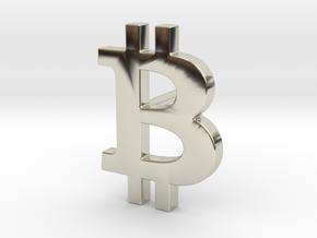 bitcoin earring in 14k White Gold