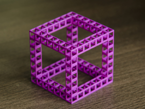 Eponge de Menger de degré 7 in Purple Processed Versatile Plastic