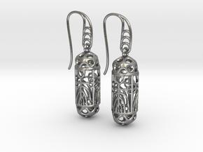 FitzLogo Filigree Earrings in Natural Silver (Interlocking Parts)