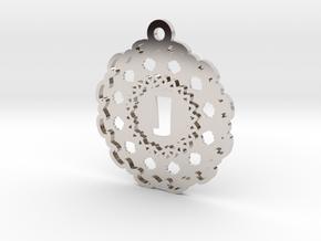 Magic Letter J Pendant in Rhodium Plated Brass