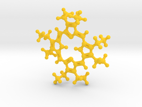 Octaethylporphyrin pendant - detailed in Yellow Processed Versatile Plastic
