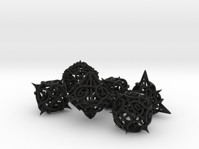 Thorn Dice Ornament Set in Black Premium Versatile Plastic