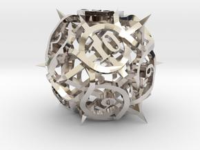 Thorn Die12 Ornament in Rhodium Plated Brass