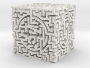 Labyrinthine Die6 in White Premium Versatile Plastic