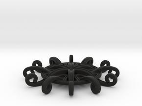 Tentacle Rosette Pendant in Black Premium Versatile Plastic