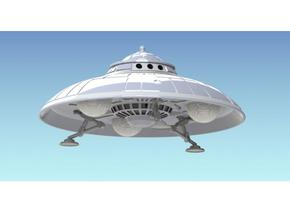 "Armored 5"" diameter Adamski Modified Saucer in White Natural Versatile Plastic"