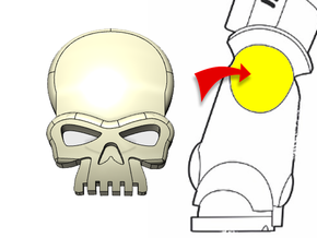 20x Skull : Small Concave Insignias in Smooth Fine Detail Plastic